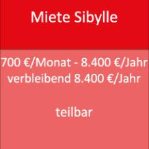 Miete Sibylle 700 €/Monat - 8.400 €/Jahr verbleibend 8.400 €/Jahr teilbar